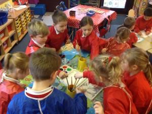 Children in Rowan Class Painting
